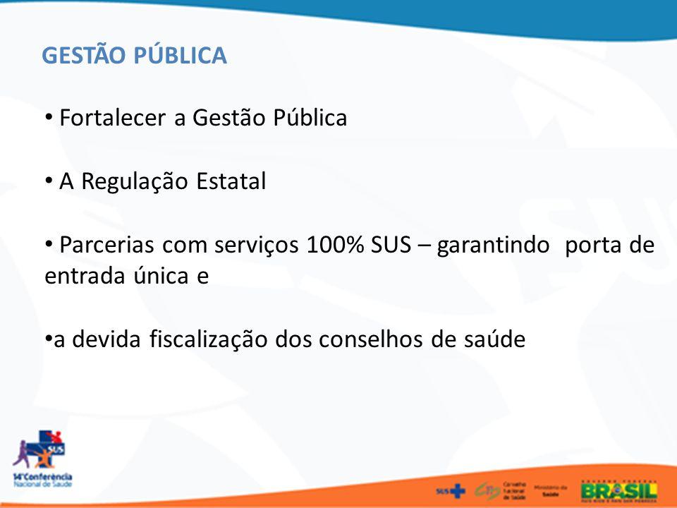 Fortalecer a Gestão Pública A Regulação Estatal Parcerias com serviços 100% SUS – garantindo porta de entrada única e a devida fiscalização dos consel