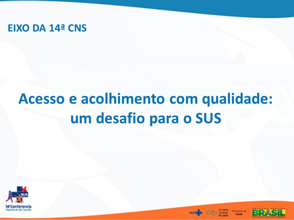 EIXO DA 14ª CNS Acesso e acolhimento com qualidade: um desafio para o SUS