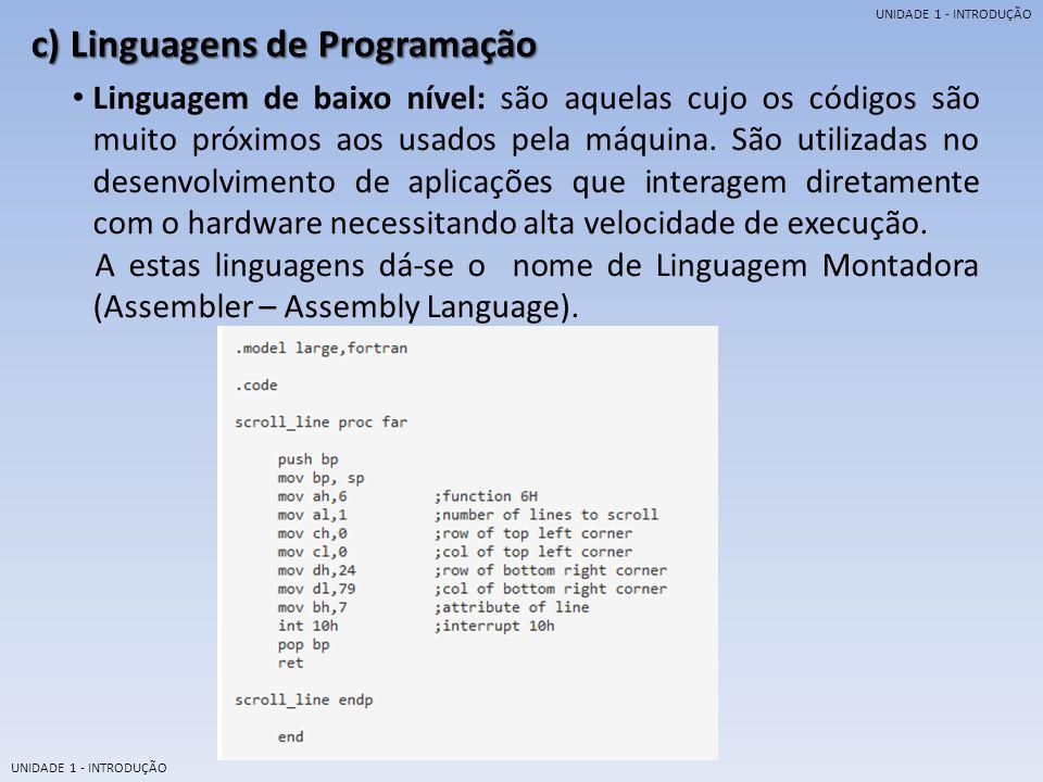 UNIDADE 1 - INTRODUÇÃO Linguagem de alto nível: são aquelas cujo os códigos são muito próximos são muito próximos aos utilizados pela linguagem humana.