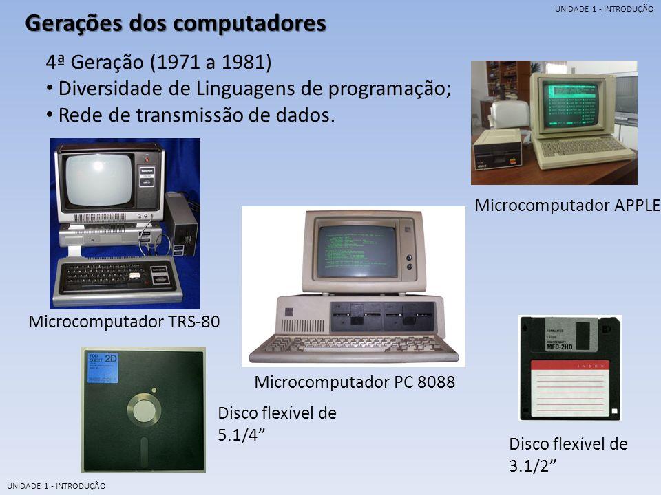 UNIDADE 1 - INTRODUÇÃO Gerações dos computadores 5ª Geração (1981........) Inteligência Artificial; Linguagem Natural Altíssima velocidade de processamento.