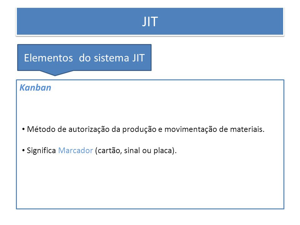 PRODUÇÃO ENXUTA JIT Elementos do sistema JIT Kanban Método de autorização da produção e movimentação de materiais. Significa Marcador (cartão, sinal o