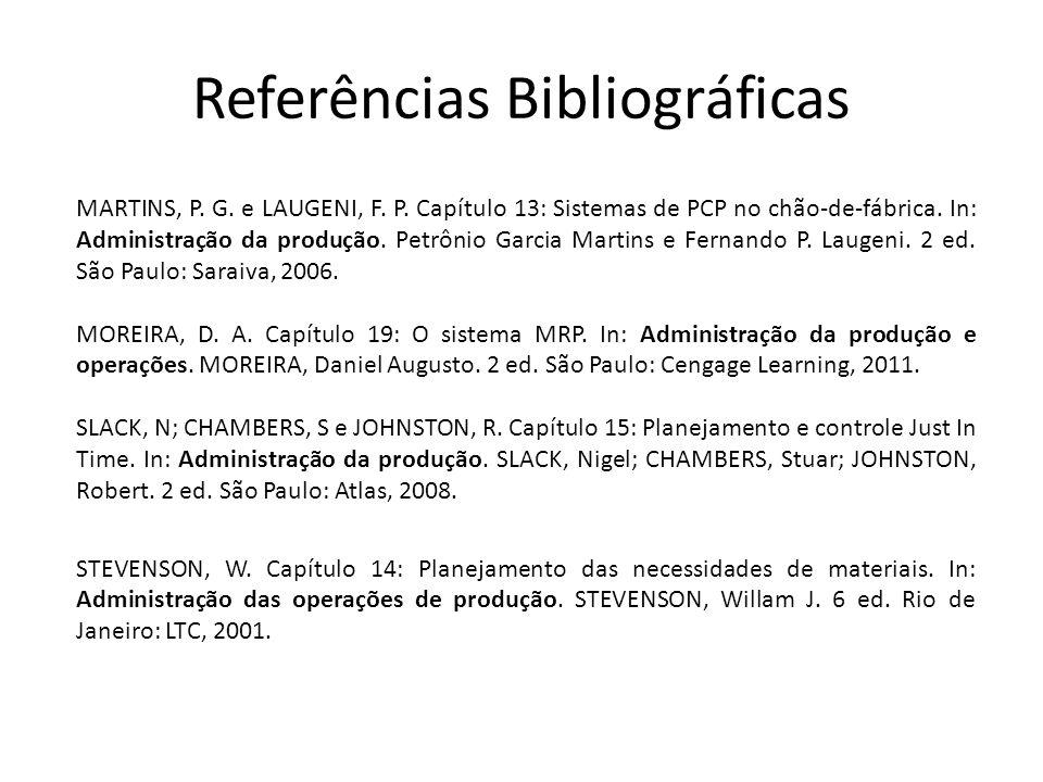 Referências Bibliográficas MARTINS, P. G. e LAUGENI, F. P. Capítulo 13: Sistemas de PCP no chão-de-fábrica. In: Administração da produção. Petrônio Ga