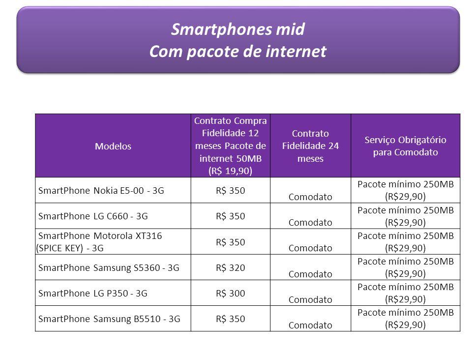 Modelos Contrato Compra Fidelidade 12 meses Pacote de internet 50MB (R$ 19,90) Contrato Fidelidade 24 meses Serviço Obrigatório para Comodato SmartPho