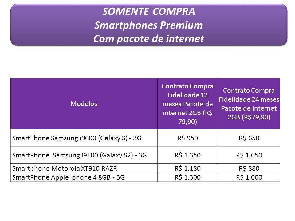Modelos Contrato Compra Fidelidade 12 meses Pacote de internet 2GB (R$ 79,90) Contrato Compra Fidelidade 24 meses Pacote de internet 2GB (R$79,90) Sma