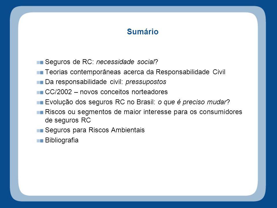 Sumário Seguros de RC: necessidade social.
