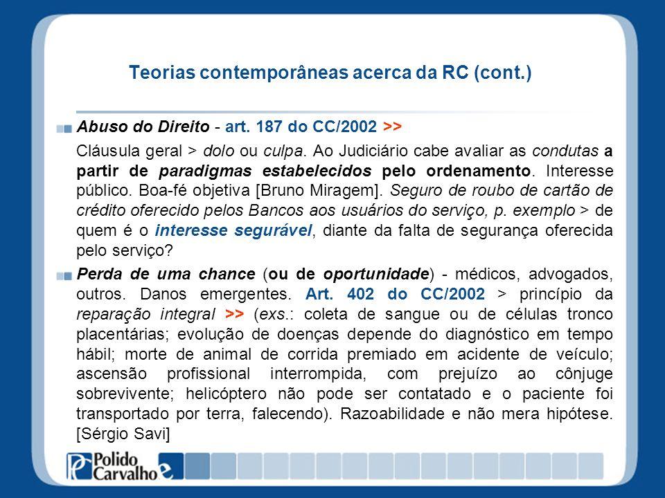 Teorias contemporâneas acerca da RC (cont.) Abuso do Direito - art.