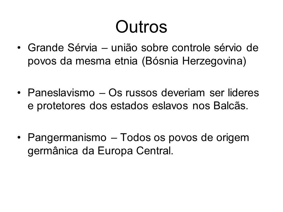 Outros Grande Sérvia – união sobre controle sérvio de povos da mesma etnia (Bósnia Herzegovina) Paneslavismo – Os russos deveriam ser lideres e protet