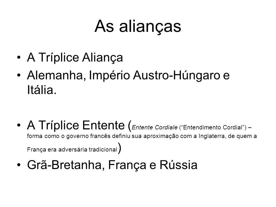 As alianças A Tríplice Aliança Alemanha, Império Austro-Húngaro e Itália. A Tríplice Entente ( Entente Cordiale (Entendimento Cordial) – forma como o