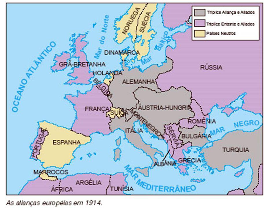 Início da Guerra Guerra de Movimento – 1914.Guerra de Trincheiras – 1915 – 1918.