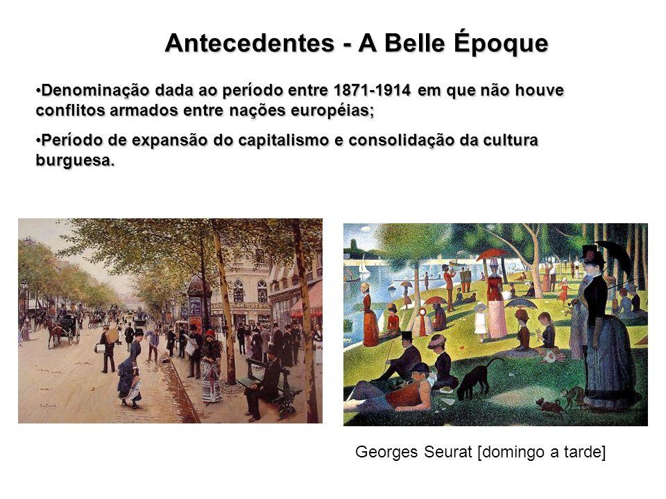 Antecedentes - A Belle Époque Denominação dada ao período entre 1871-1914 em que não houve conflitos armados entre nações européias;Denominação dada a