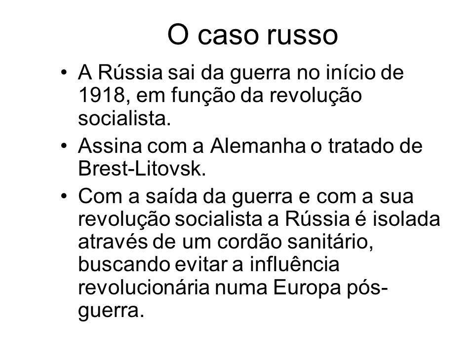 O caso russo A Rússia sai da guerra no início de 1918, em função da revolução socialista. Assina com a Alemanha o tratado de Brest-Litovsk. Com a saíd