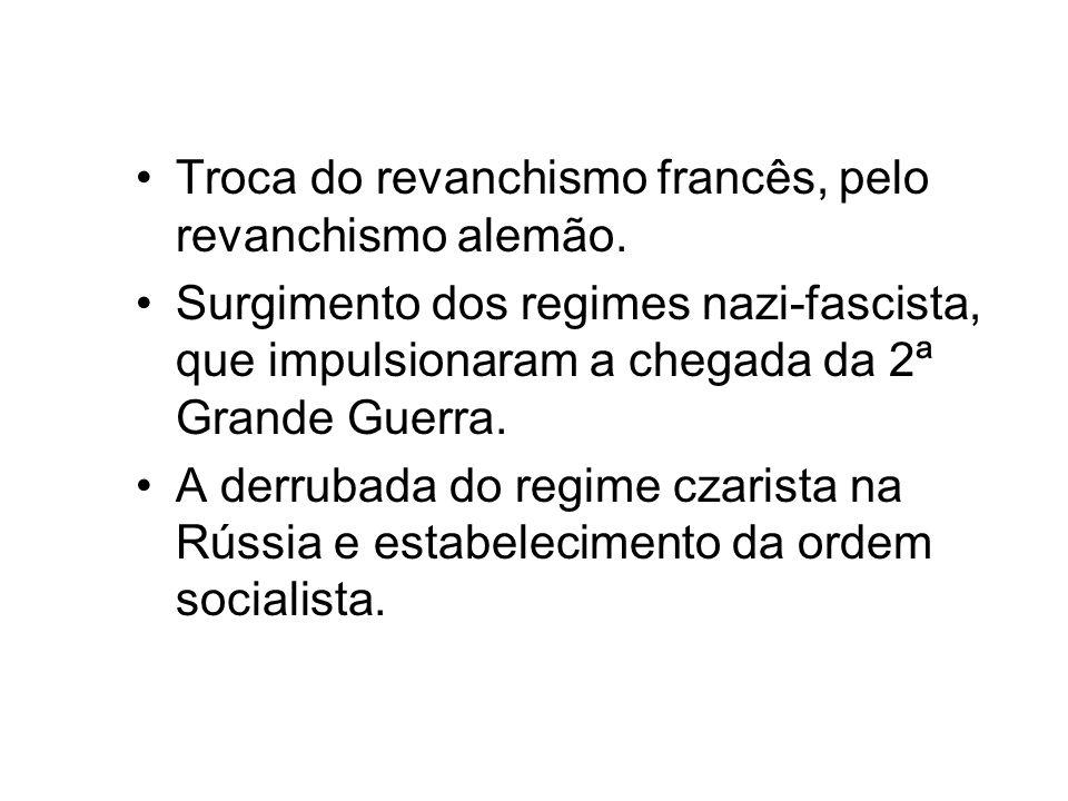 Troca do revanchismo francês, pelo revanchismo alemão. Surgimento dos regimes nazi-fascista, que impulsionaram a chegada da 2ª Grande Guerra. A derrub