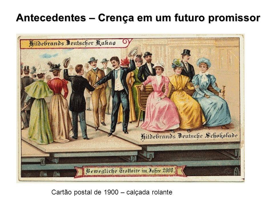 Antecedentes – Crença em um futuro promissor Cartão postal de 1900 – calçada rolante