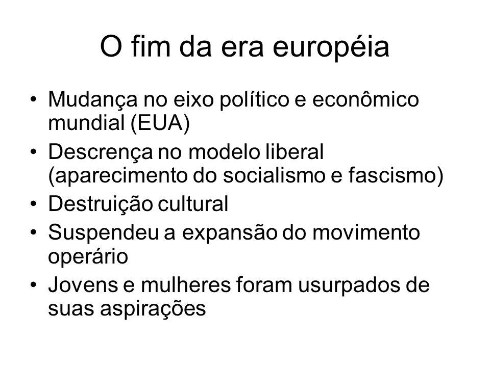 O fim da era européia Mudança no eixo político e econômico mundial (EUA) Descrença no modelo liberal (aparecimento do socialismo e fascismo) Destruiçã