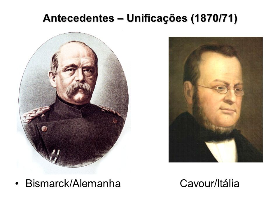 Desenvolvimento do nacionalismo Rivalidade econômica Itália – Monarquia Parlamentar – 1870 Antecedentes – Unificações (1870/71) Alemanha – 2º Reich - 1871 Unificações