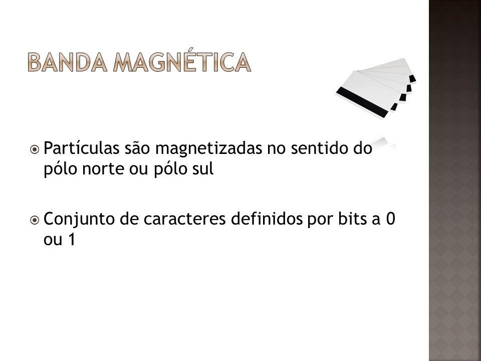 Partículas são magnetizadas no sentido do pólo norte ou pólo sul Conjunto de caracteres definidos por bits a 0 ou 1