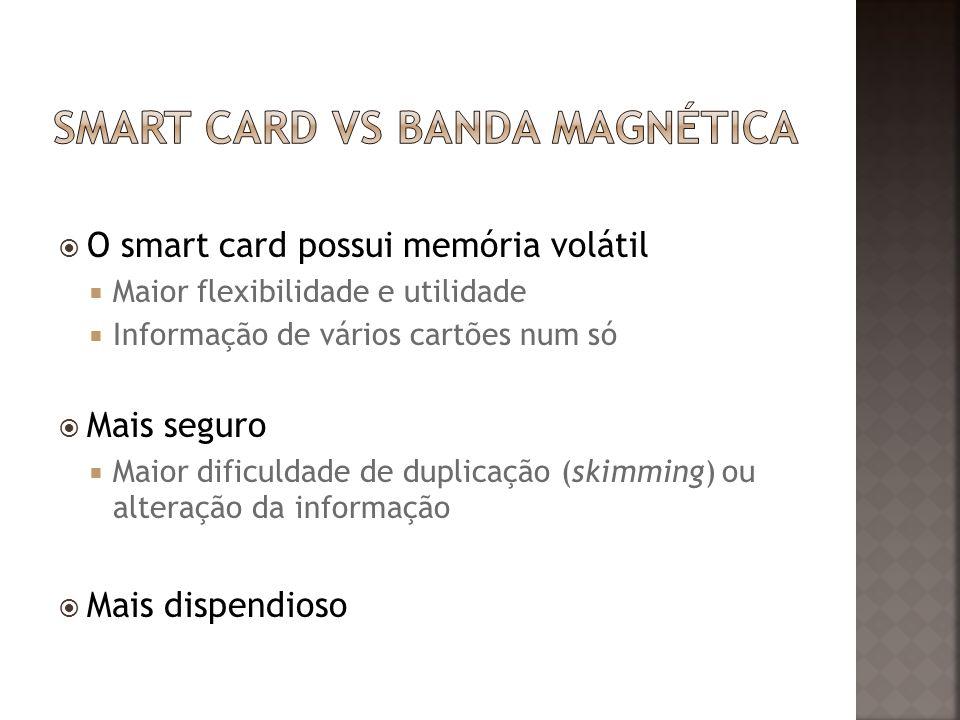 O smart card possui memória volátil Maior flexibilidade e utilidade Informação de vários cartões num só Mais seguro Maior dificuldade de duplicação (skimming) ou alteração da informação Mais dispendioso