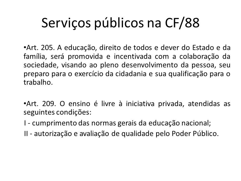Serviços públicos na CF/88 Art. 205. A educação, direito de todos e dever do Estado e da família, será promovida e incentivada com a colaboração da so
