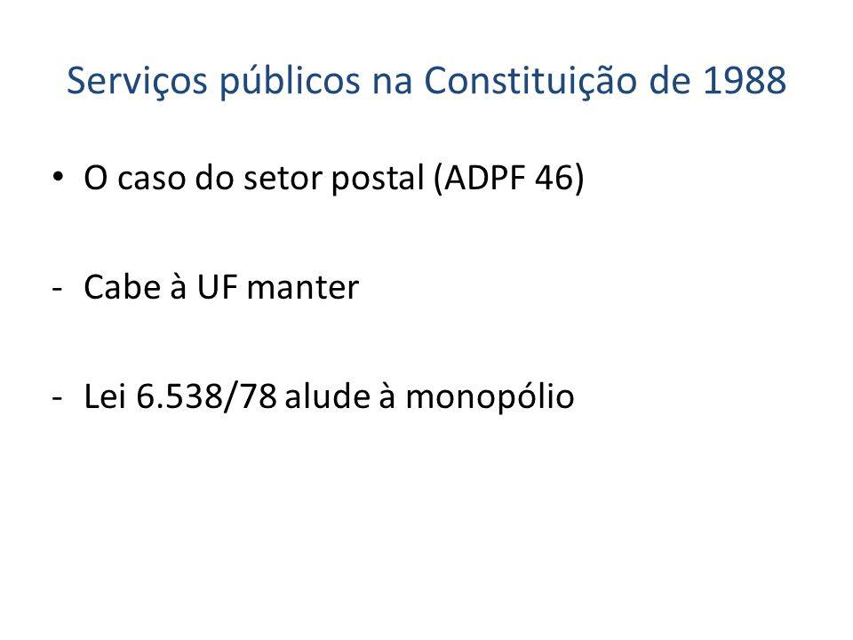 Serviços públicos na Constituição de 1988 O caso do setor postal (ADPF 46) -Cabe à UF manter -Lei 6.538/78 alude à monopólio