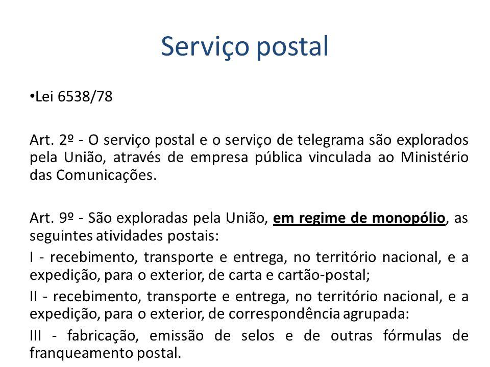 Serviço postal Lei 6538/78 Art. 2º - O serviço postal e o serviço de telegrama são explorados pela União, através de empresa pública vinculada ao Mini