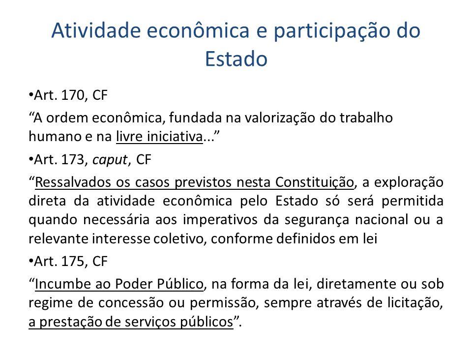 Atividade econômica e participação do Estado Art. 170, CF A ordem econômica, fundada na valorização do trabalho humano e na livre iniciativa... Art. 1
