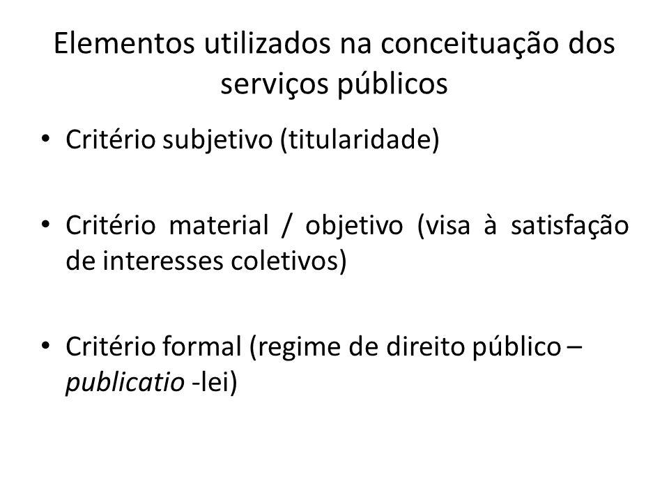 Elementos utilizados na conceituação dos serviços públicos Critério subjetivo (titularidade) Critério material / objetivo (visa à satisfação de intere