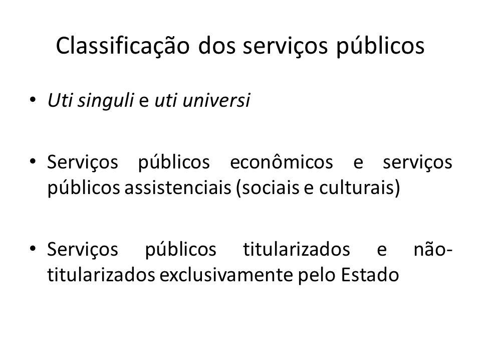 Classificação dos serviços públicos Uti singuli e uti universi Serviços públicos econômicos e serviços públicos assistenciais (sociais e culturais) Se
