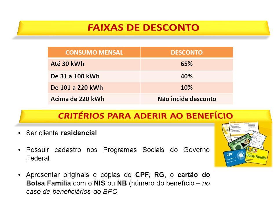 Ser cliente residencial Possuir cadastro nos Programas Sociais do Governo Federal Apresentar originais e cópias do CPF, RG, o cartão do Bolsa Família