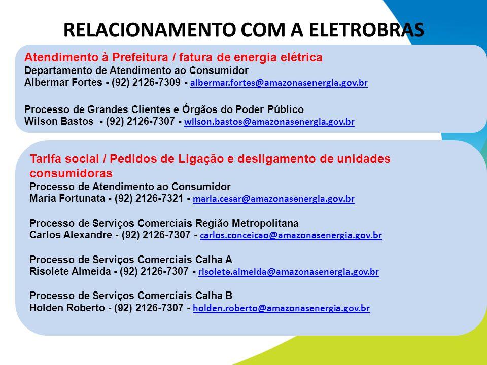 Atendimento à Prefeitura / fatura de energia elétrica Departamento de Atendimento ao Consumidor Albermar Fortes - (92) 2126-7309 - albermar.fortes@ama