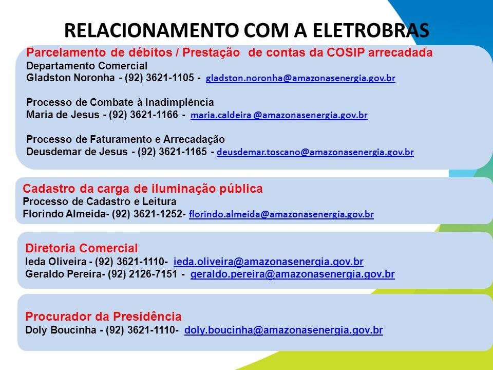 Parcelamento de débitos / Prestação de contas da COSIP arrecadada Departamento Comercial Gladston Noronha - (92) 3621-1105 - gladston.noronha@amazonas