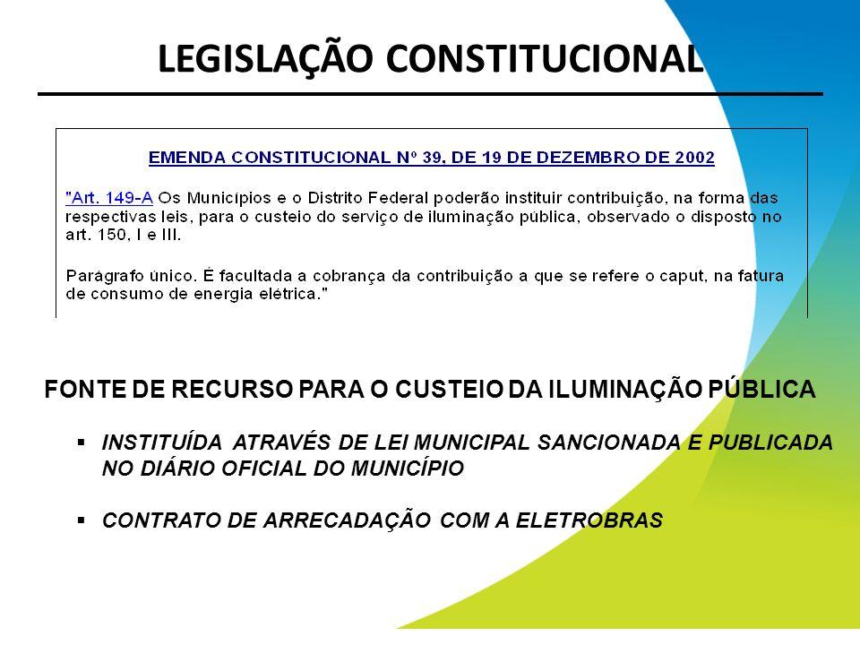 LEGISLAÇÃO CONSTITUCIONAL FONTE DE RECURSO PARA O CUSTEIO DA ILUMINAÇÃO PÚBLICA INSTITUÍDA ATRAVÉS DE LEI MUNICIPAL SANCIONADA E PUBLICADA NO DIÁRIO O