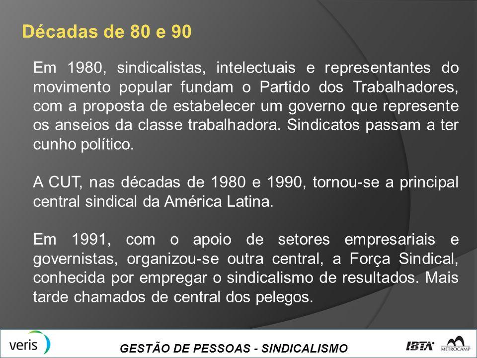 GESTÃO DE PESSOAS - SINDICALISMO Décadas de 80 e 90 Em 1980, sindicalistas, intelectuais e representantes do movimento popular fundam o Partido dos Tr