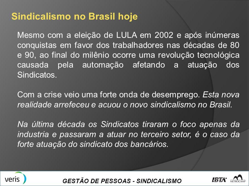 GESTÃO DE PESSOAS - SINDICALISMO Sindicalismo no Brasil hoje Mesmo com a eleição de LULA em 2002 e após inúmeras conquistas em favor dos trabalhadores