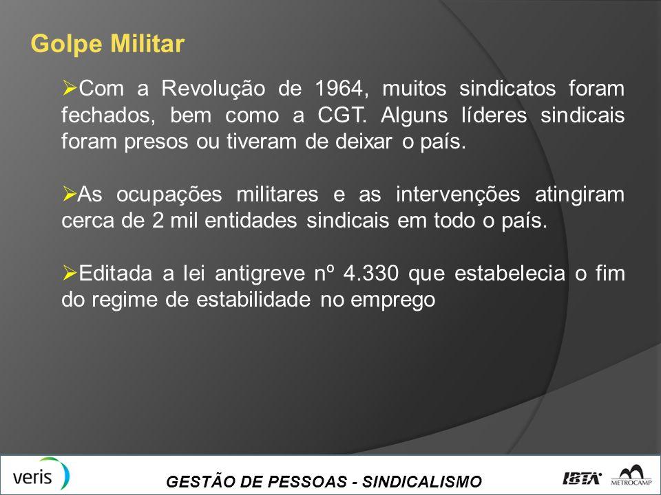 GESTÃO DE PESSOAS - SINDICALISMO Golpe Militar Com a Revolução de 1964, muitos sindicatos foram fechados, bem como a CGT. Alguns líderes sindicais for