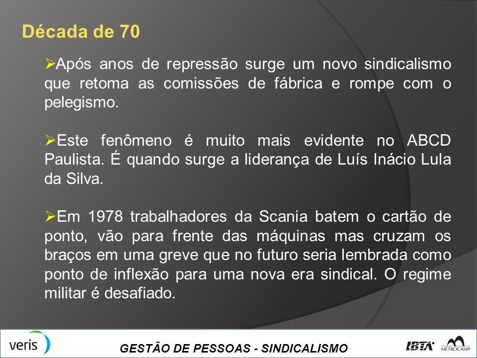 GESTÃO DE PESSOAS - SINDICALISMO Década de 70 Após anos de repressão surge um novo sindicalismo que retoma as comissões de fábrica e rompe com o peleg