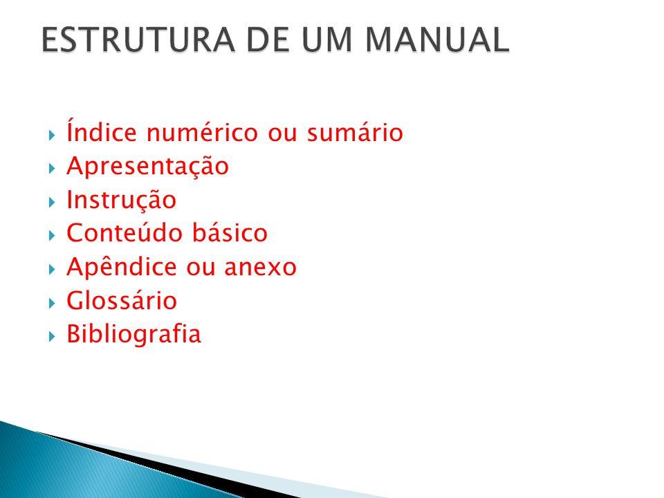 Índice numérico ou sumário Apresentação Instrução Conteúdo básico Apêndice ou anexo Glossário Bibliografia