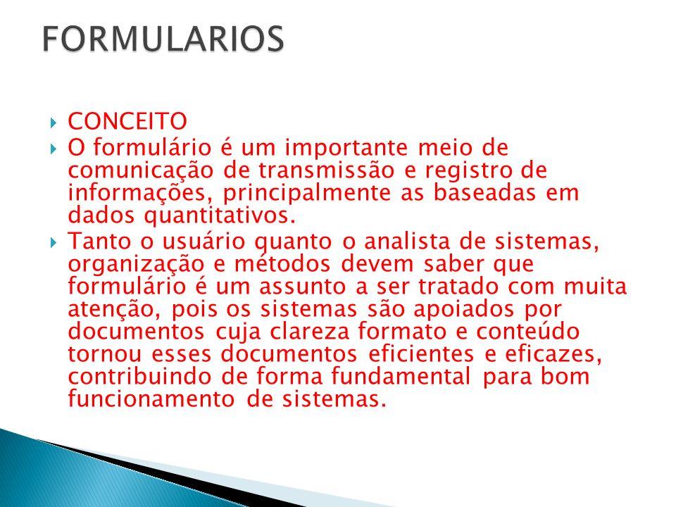 CONCEITO O formulário é um importante meio de comunicação de transmissão e registro de informações, principalmente as baseadas em dados quantitativos.