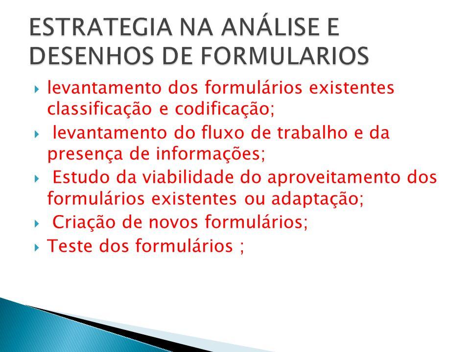 levantamento dos formulários existentes classificação e codificação; levantamento do fluxo de trabalho e da presença de informações; Estudo da viabili