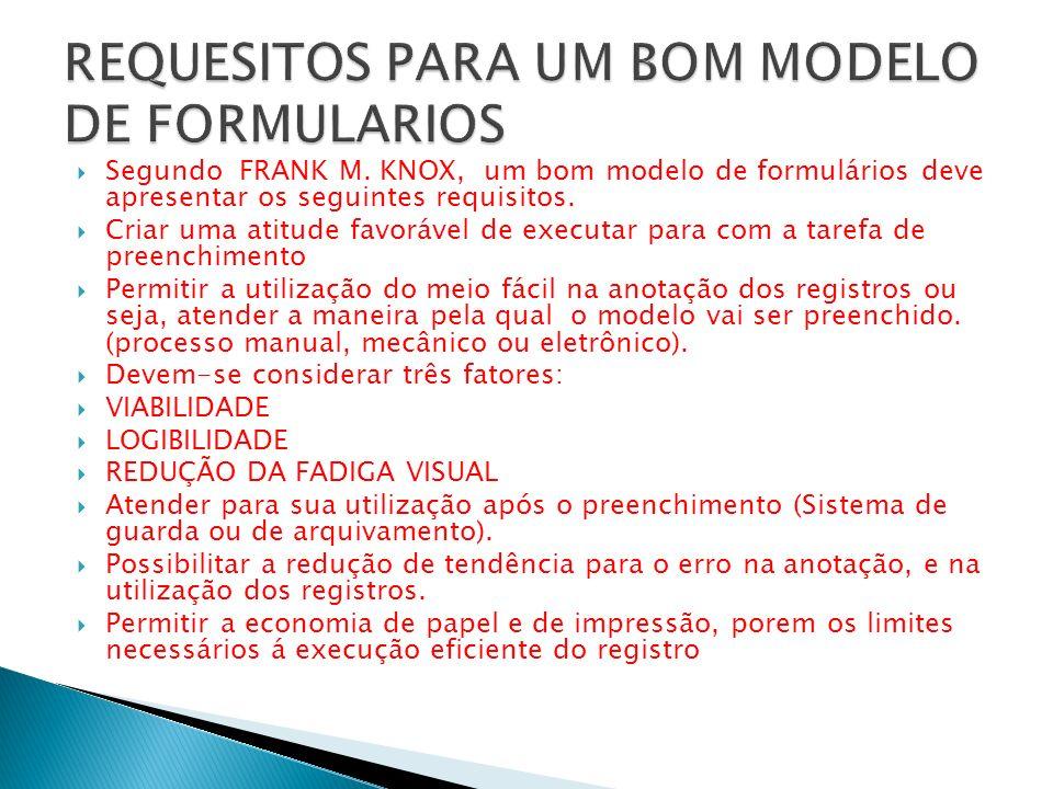 Segundo FRANK M. KNOX, um bom modelo de formulários deve apresentar os seguintes requisitos. Criar uma atitude favorável de executar para com a tarefa