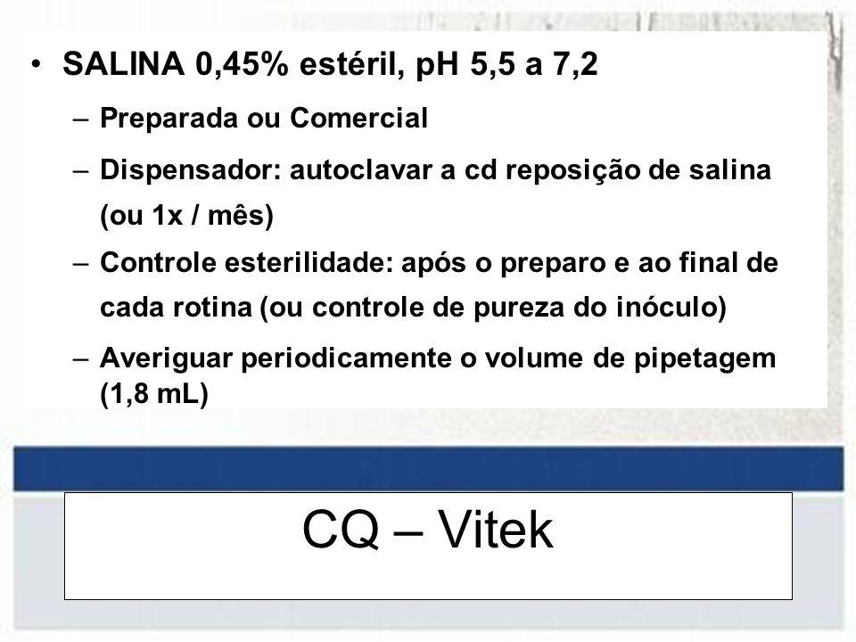 CQ – Vitek SALINA 0,45% estéril, pH 5,5 a 7,2 –Preparada ou Comercial –Dispensador: autoclavar a cd reposição de salina (ou 1x / mês) –Controle esteri