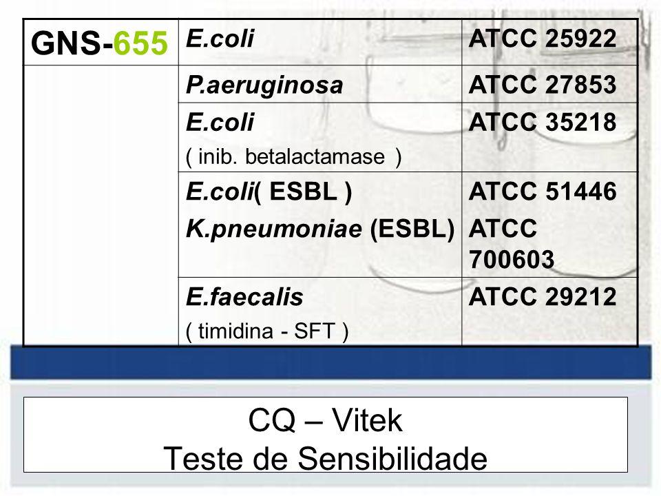 CQ – Vitek Teste de Sensibilidade GNS-655 E.coliATCC 25922 P.aeruginosaATCC 27853 E.coli ( inib. betalactamase ) ATCC 35218 E.coli( ESBL ) K.pneumonia