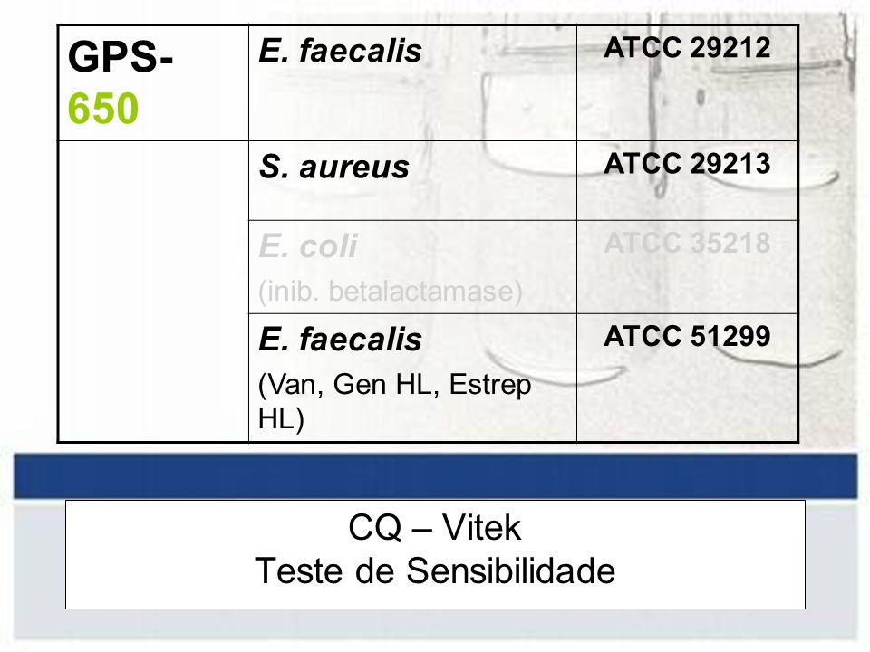 CQ – Vitek Teste de Sensibilidade GPS- 650 E. faecalis ATCC 29212 S. aureus ATCC 29213 E. coli (inib. betalactamase) ATCC 35218 E. faecalis (Van, Gen
