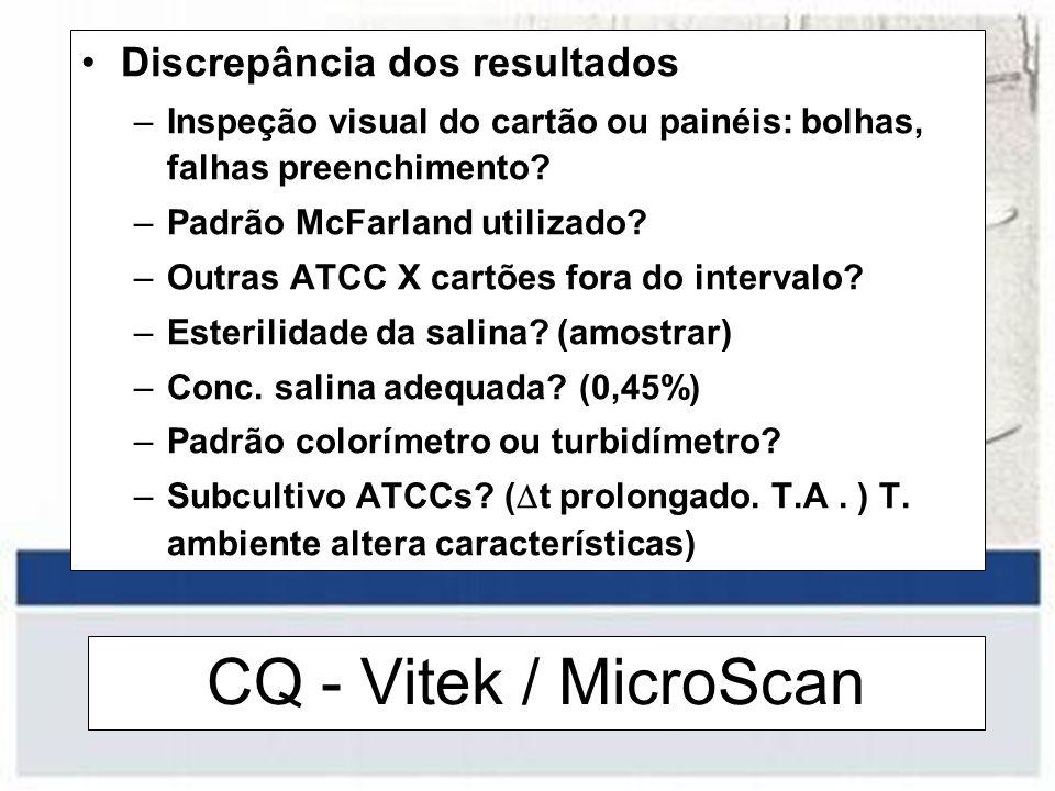 CQ - Vitek / MicroScan Discrepância dos resultados –Inspeção visual do cartão ou painéis: bolhas, falhas preenchimento? –Padrão McFarland utilizado? –