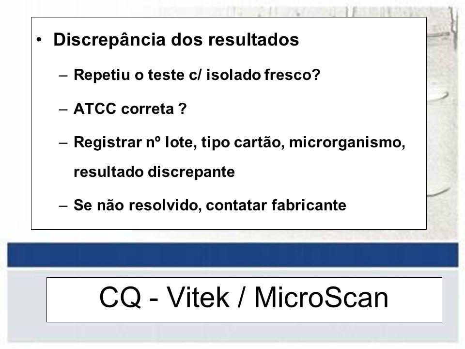 CQ - Vitek / MicroScan Discrepância dos resultados –Repetiu o teste c/ isolado fresco? –ATCC correta ? –Registrar nº lote, tipo cartão, microrganismo,