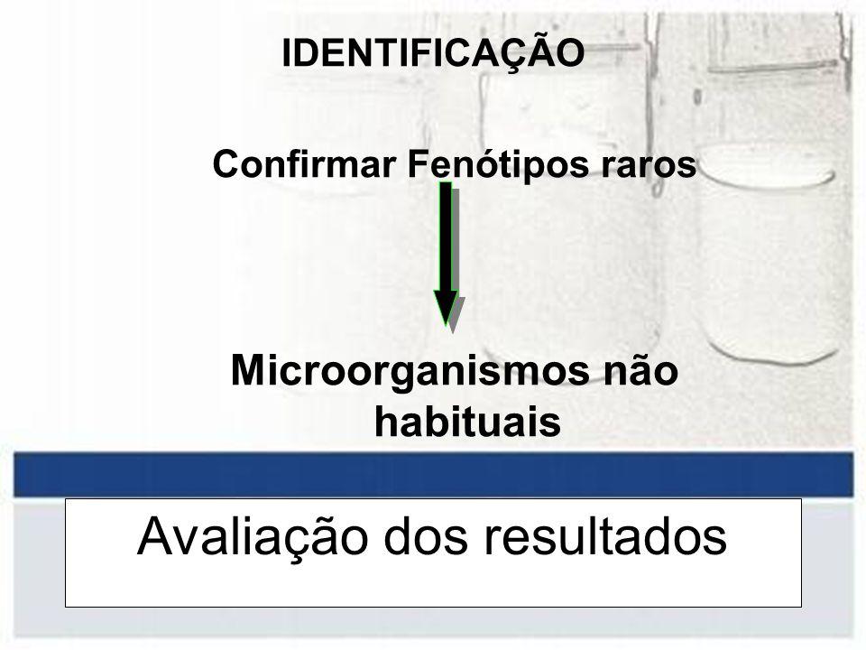 Avaliação dos resultados IDENTIFICAÇÃO Confirmar Fenótipos raros Microorganismos não habituais