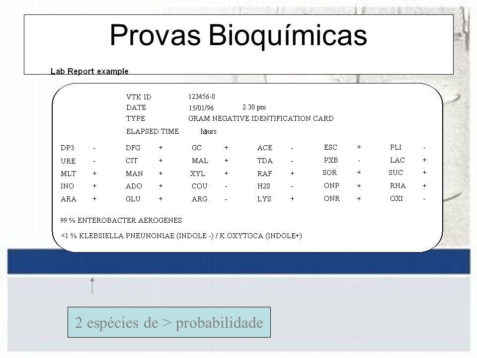 Provas Bioquímicas 2 espécies de > probabilidade