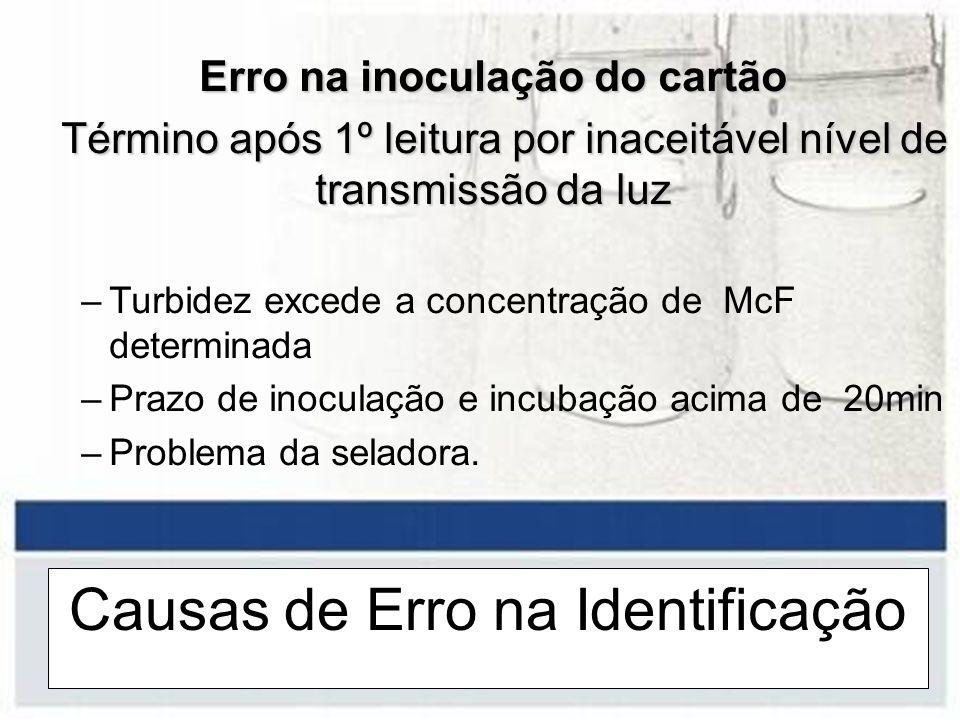 Causas de Erro na Identificação Erro na inoculação do cartão Término após 1º leitura por inaceitável nível de transmissão da luz Término após 1º leitu