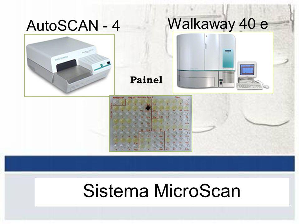 Sistema Automatizado Vantagens –Padronização dos resultados –NCCLS atualizado –Rapidez –> Número de provas bioquímicas –Gerenciamento dados / Interface –Sistema expert –Arquivamento de cartões / cepas –VITEK 2 e Walkaway 40 e 96 : totalmente automatizado