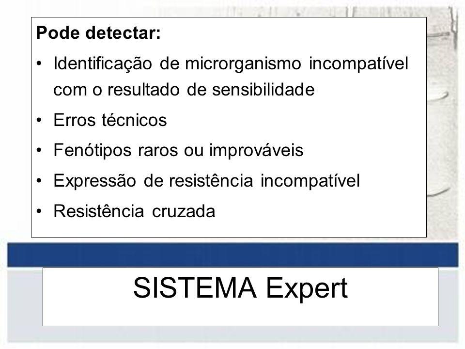 SISTEMA Expert Pode detectar: Identificação de microrganismo incompatível com o resultado de sensibilidade Erros técnicos Fenótipos raros ou improváve