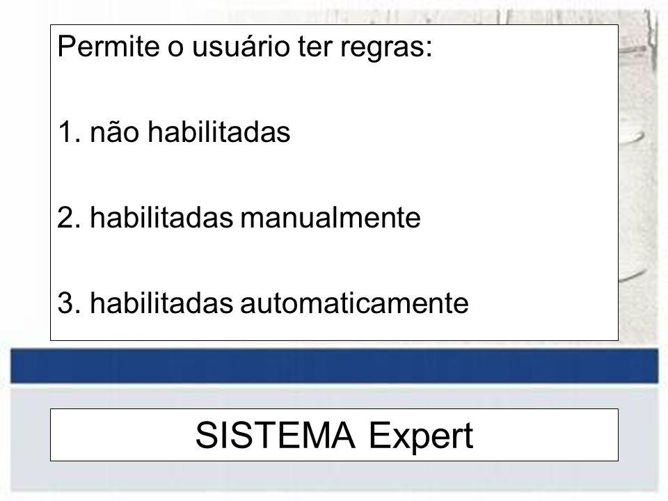 SISTEMA Expert Permite o usuário ter regras: 1. não habilitadas 2. habilitadas manualmente 3. habilitadas automaticamente